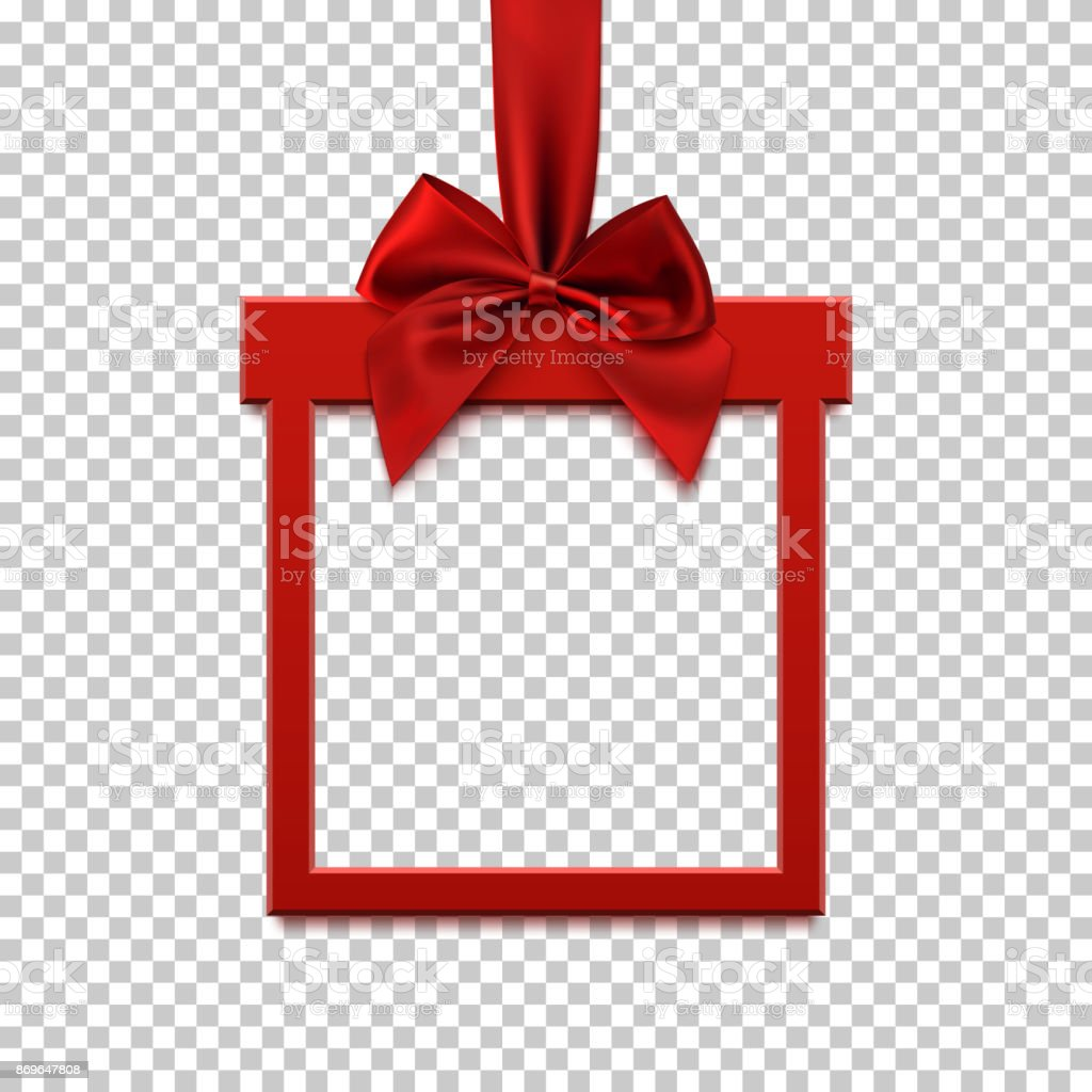 Square banner in form of gift with red ribbon and bow. - arte vettoriale royalty-free di 2017