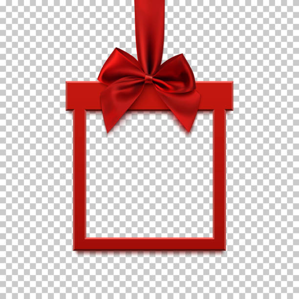 Square banner in form of gift with red ribbon and bow. vector art illustration