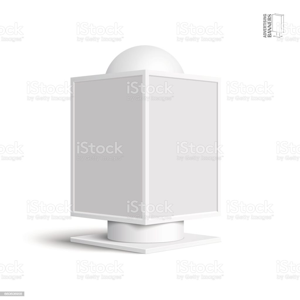 Square billboard lightbox, on a white background royalty-free square billboard lightbox on a white background stock vector art & more images of advertisement