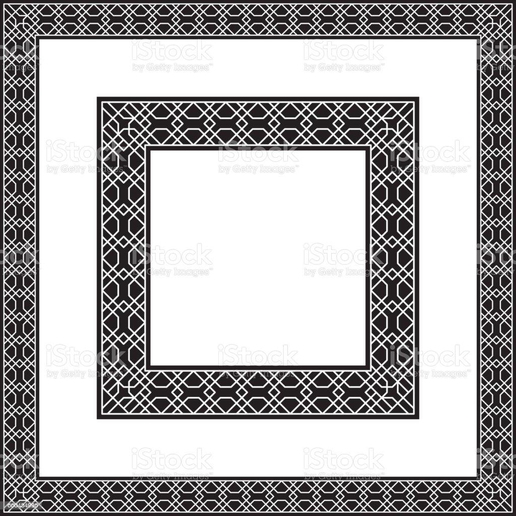 Quadratische Schwarze Und Weiße Rahmen Geometrisches Muster Vektor ...