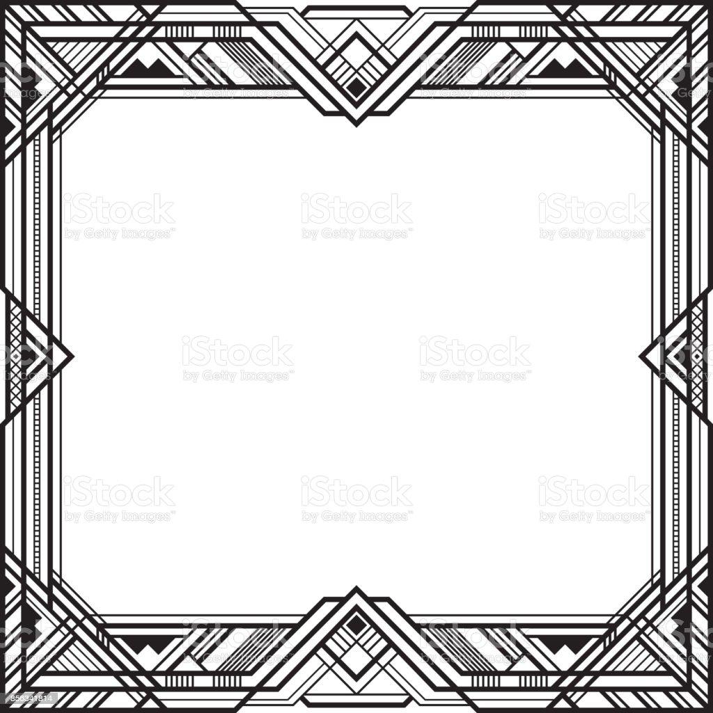 Ilustración de Cuadrado Negro Marco Retro Estilo Art Deco y más ...