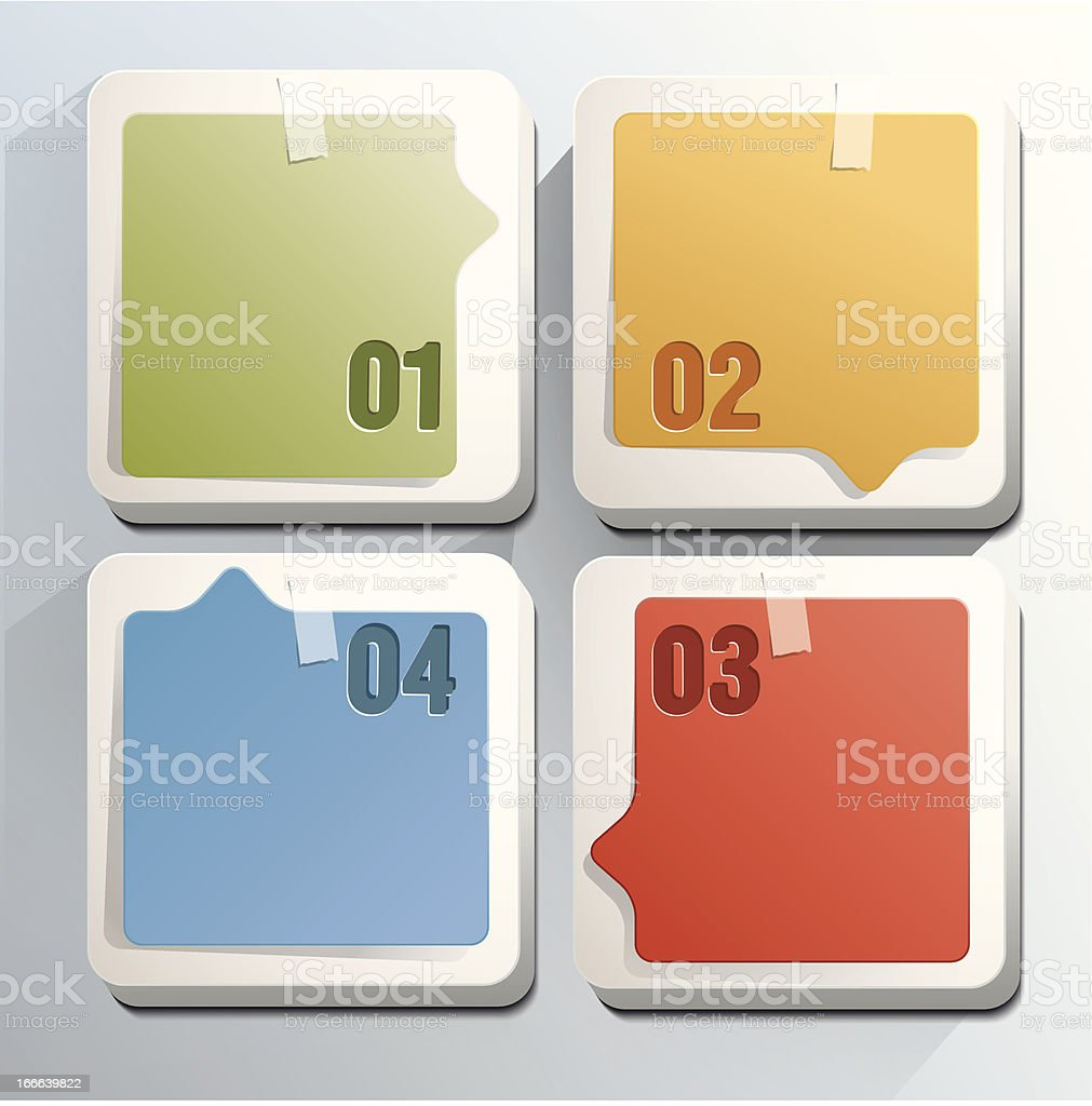 Square blocks with numbers and stikers royalty-free stock vector art