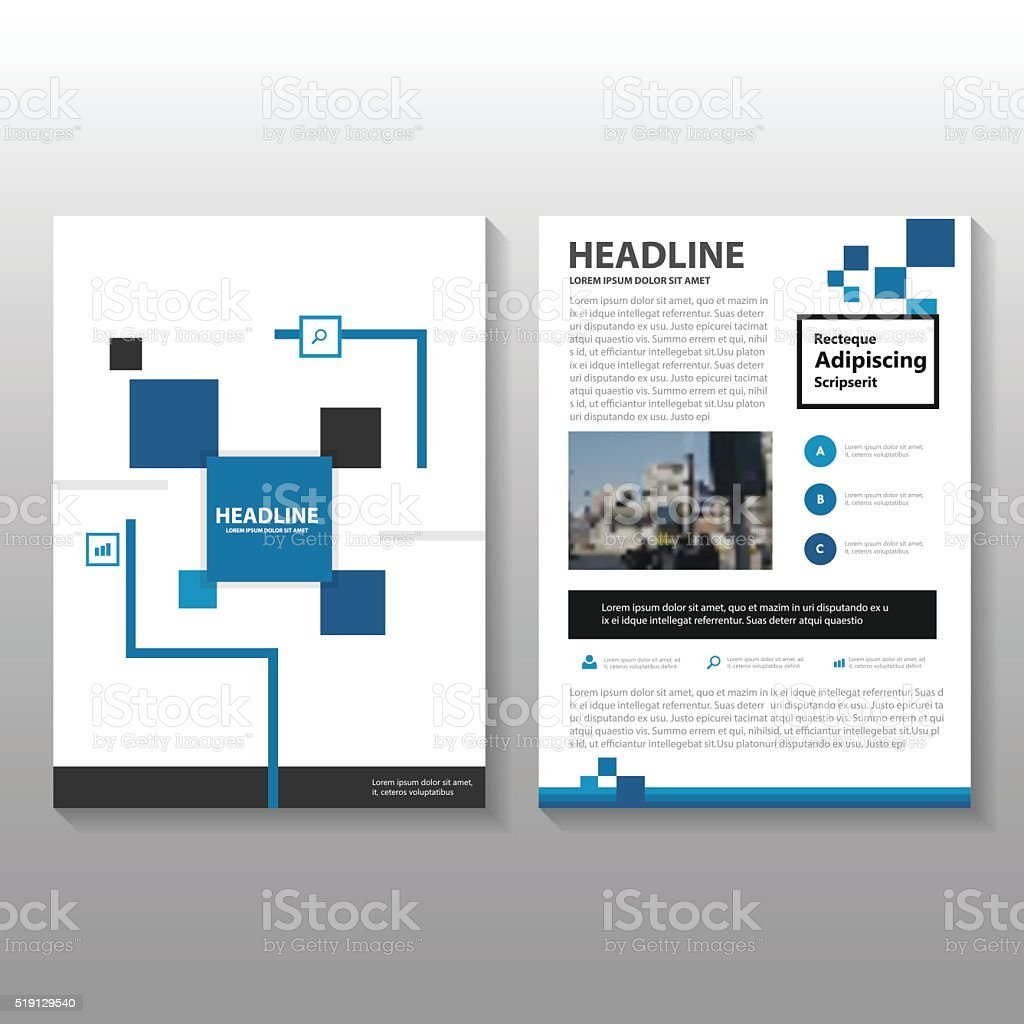 Square Blue Black Vector Annual Report Leaflet Brochure Flyer - Brochure flyer templates