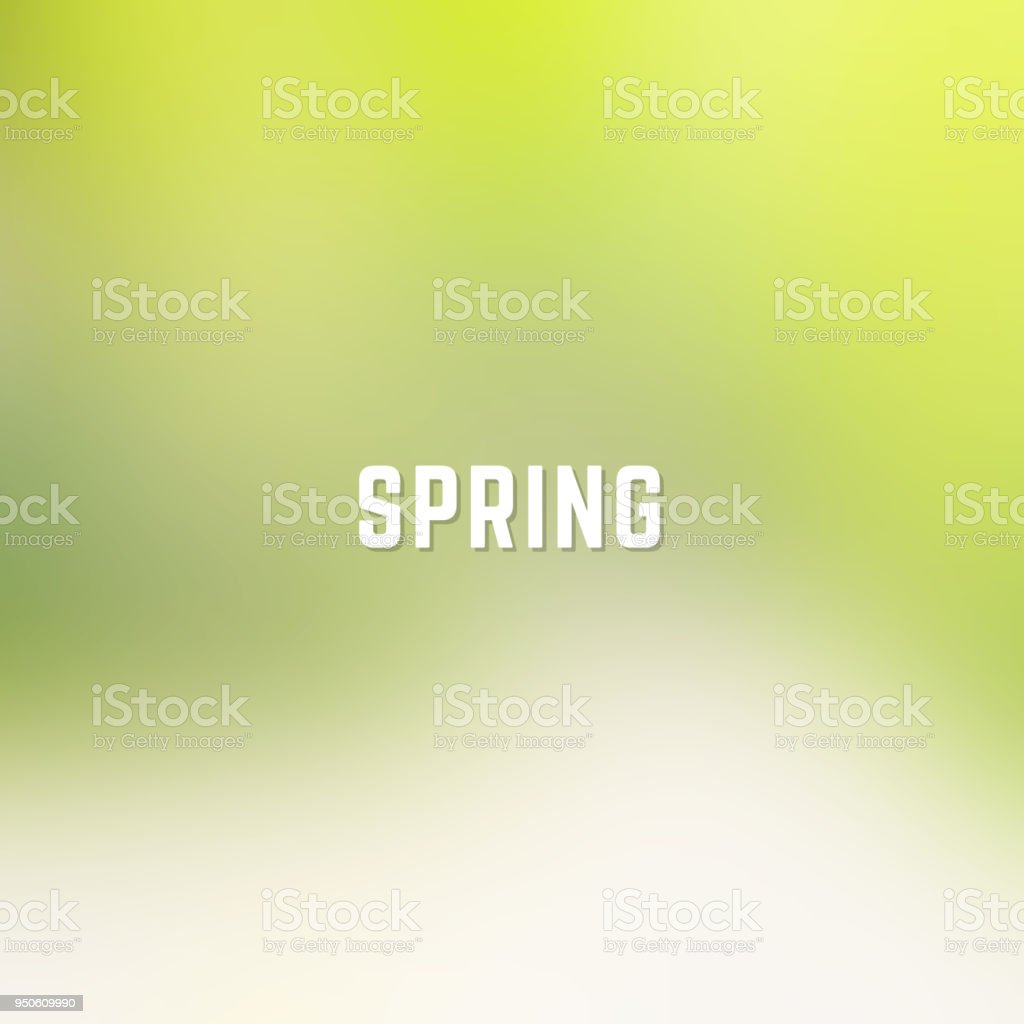 Square blurred spring background in gold and green colors with word spring vector art illustration