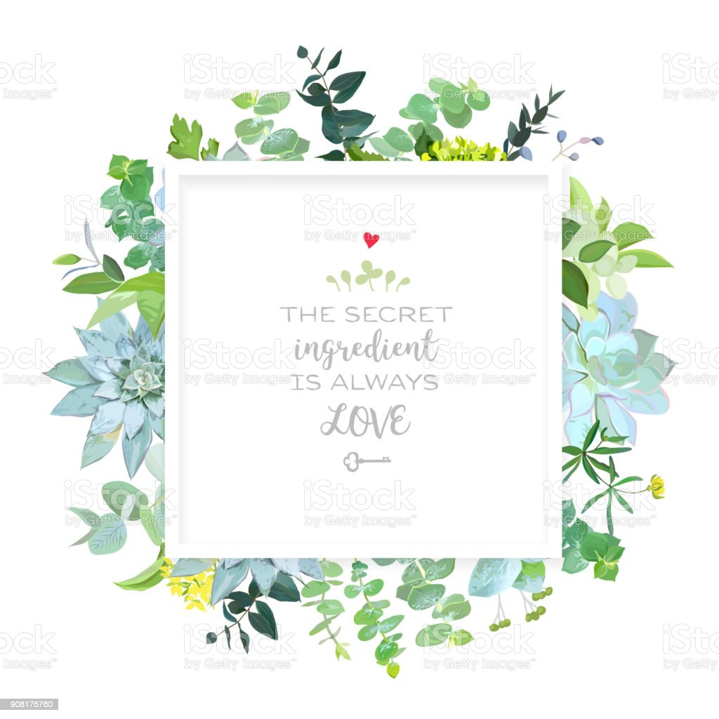 Square botanical vector design frame. vector art illustration
