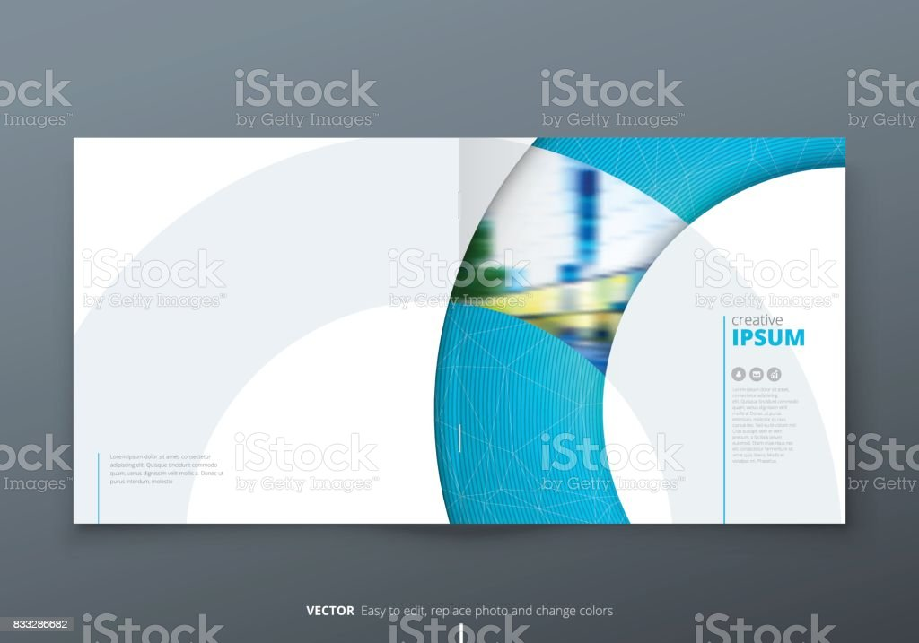 square brochure design blue corporate business rectangle