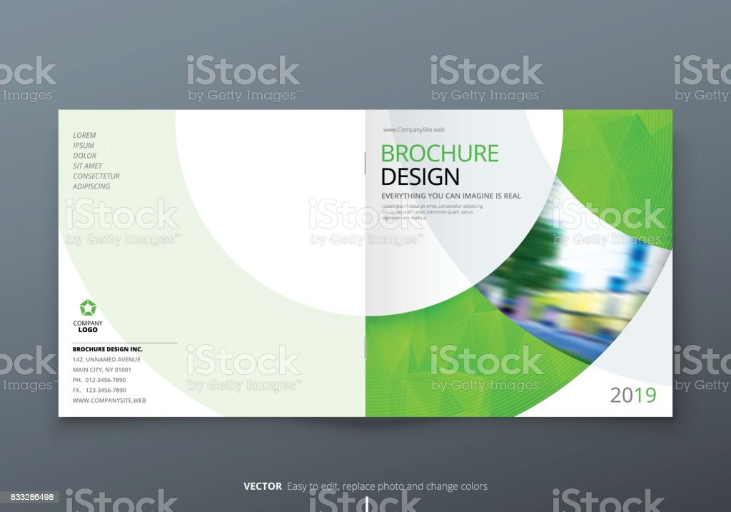 Square Brochure Design Green Corporate Business Rectangle Template