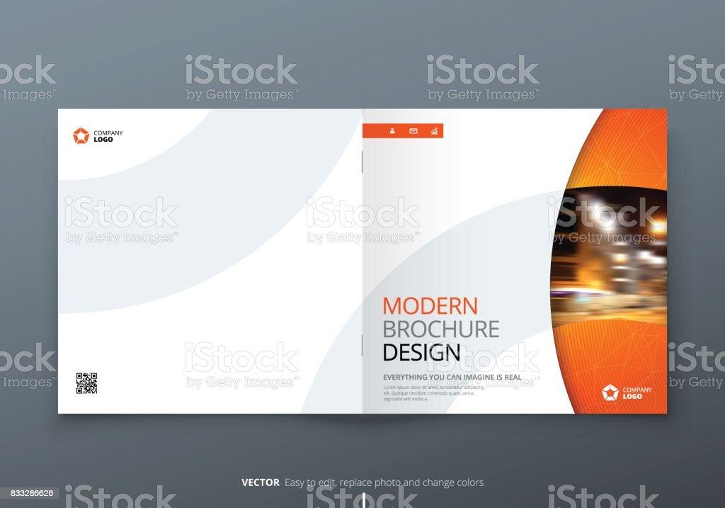 Square Brochure Design Orange Corporate Business Rectangle Template