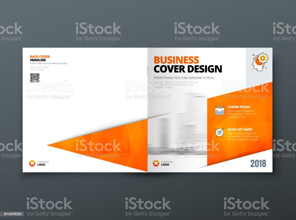 square brochure design orange corporate business template for