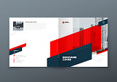 Square Brochure design. Red corporate business rectangle template brochure, report, catalog, magazine. Brochure layout modern memphis abstract background. Vector concept.