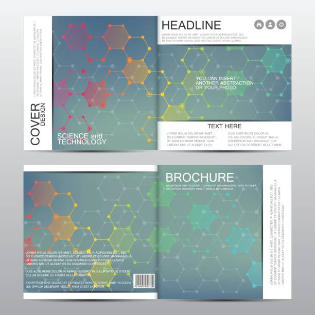 Square Brochure Template With Molecular Structure Geometric