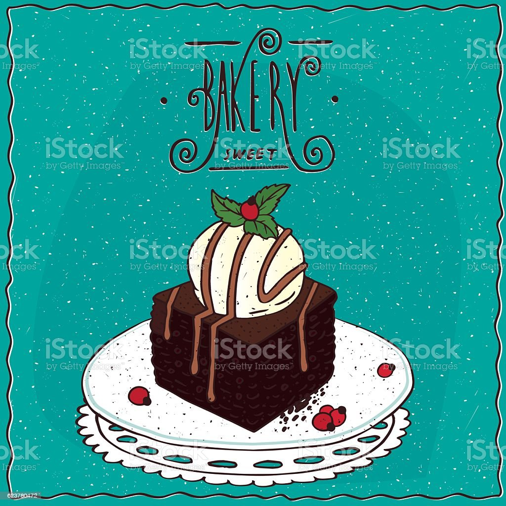 Square brownie with vanilla ice cream vector art illustration