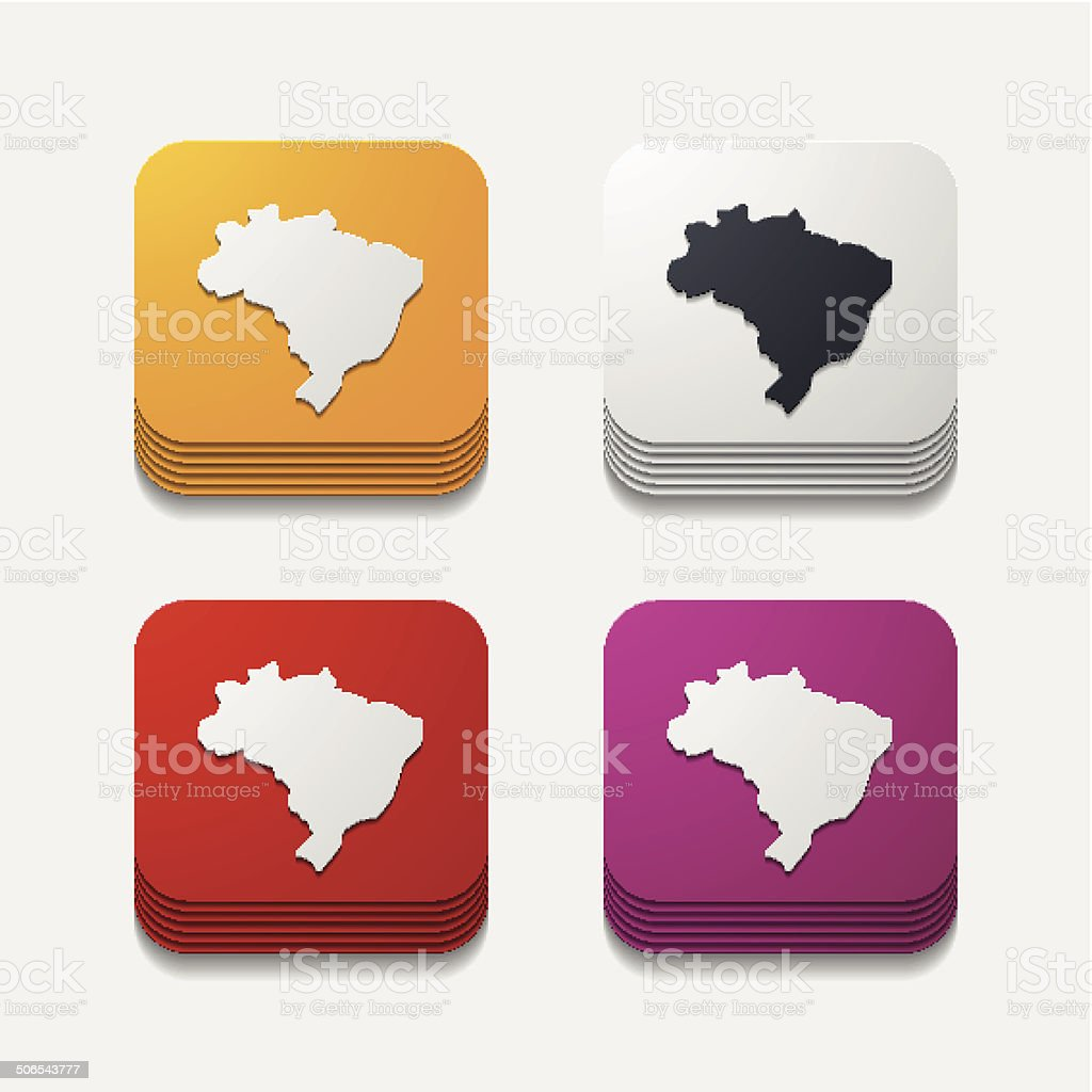 square button: brazil royalty-free stock vector art