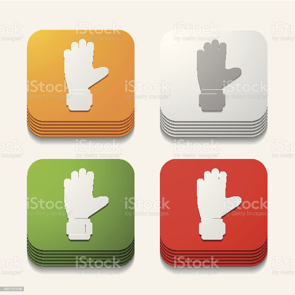 square button: gloves royalty-free stock vector art