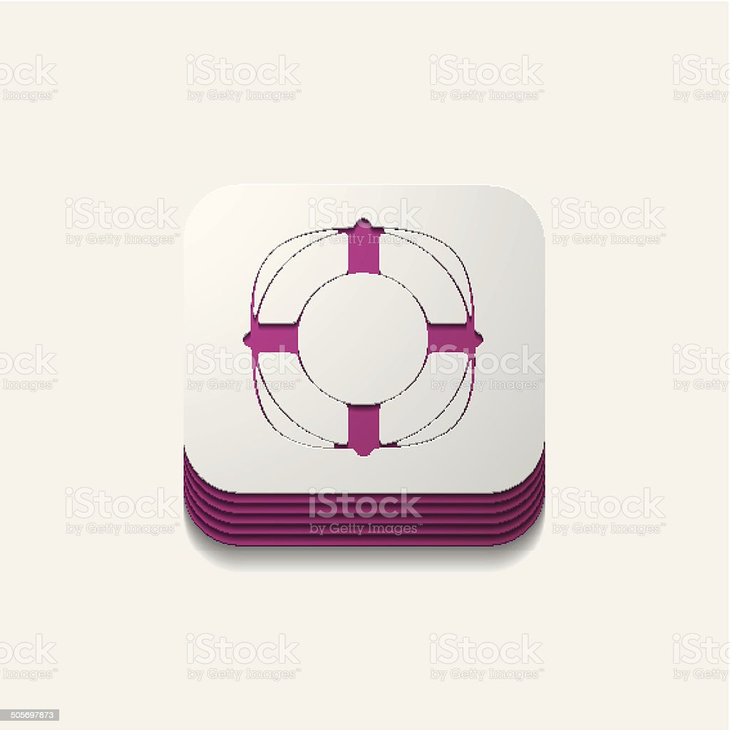 square button: lifebuoy royalty-free stock vector art