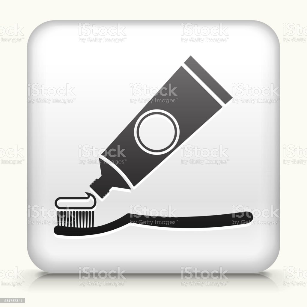 Square button: Tooth Brush & Paste royalty free vector art vector art illustration