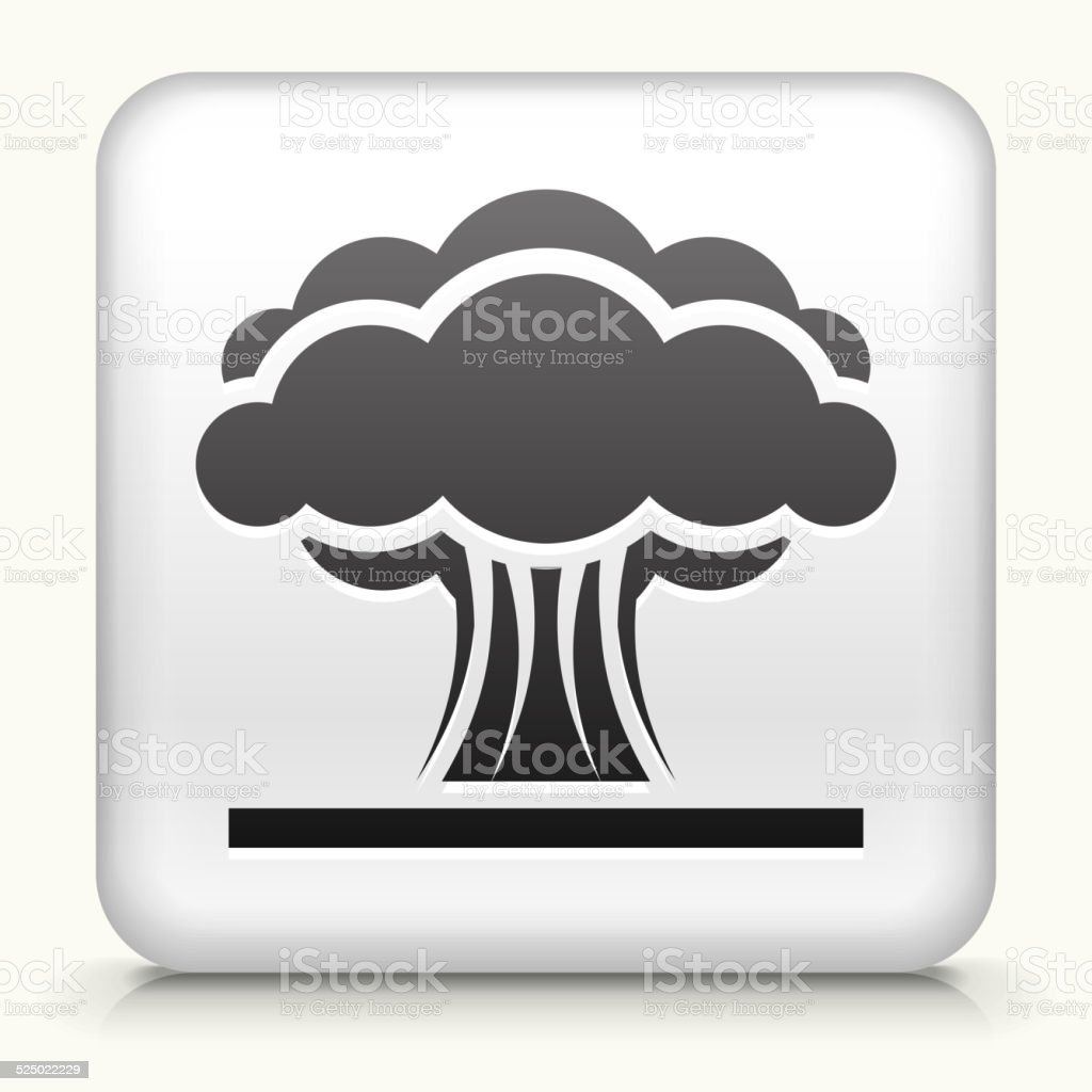 Square Button with Atomic Explosion vector art illustration