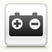 Square Button with Battery royalty free vector art