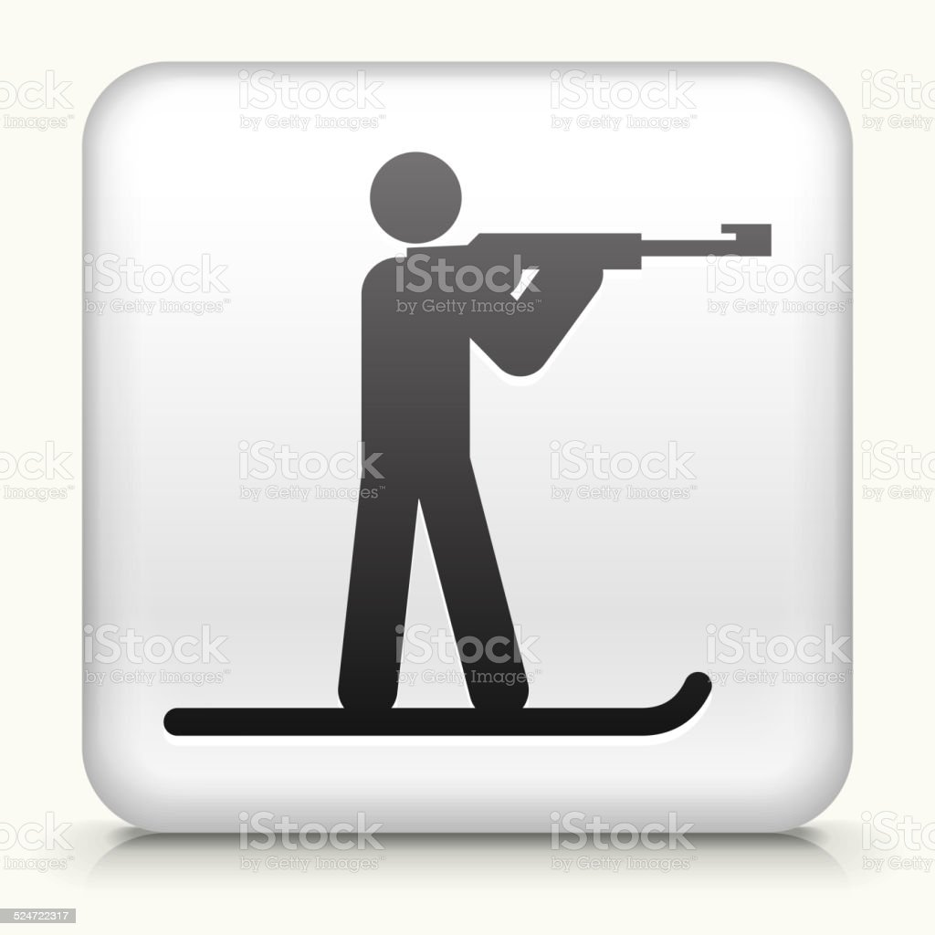 Square Button with Biathlone Athlete vector art illustration