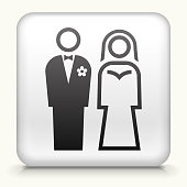 Square Button with Bride & Groom