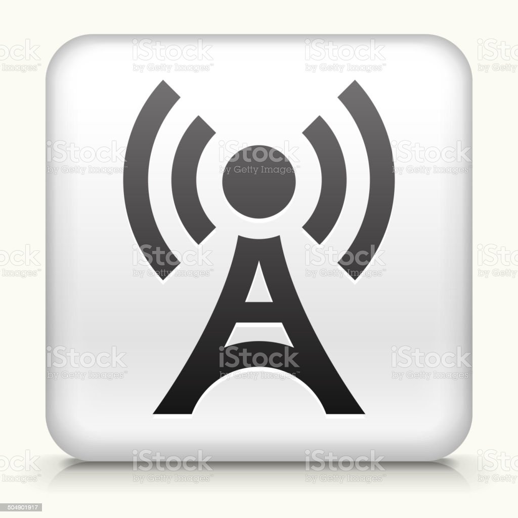Square Button with Broadcasting Tower royalty free vector art vector art illustration