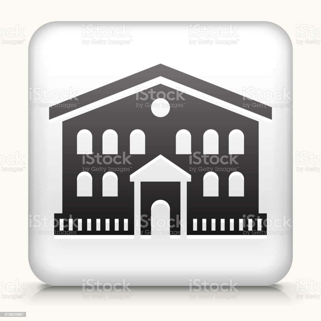Square Button with Building royalty free vector art vector art illustration