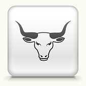 Royalty free vector art. The black interface icon is on a simple white Background. Button has a bevel effect and a light shadow. 100% royalty free vector file and can be easily modified, icon download comes with vector art and jpg file. White Square Button with Bull's Head interface icon