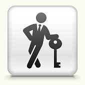 White Square Button with Businessman & Key Icon