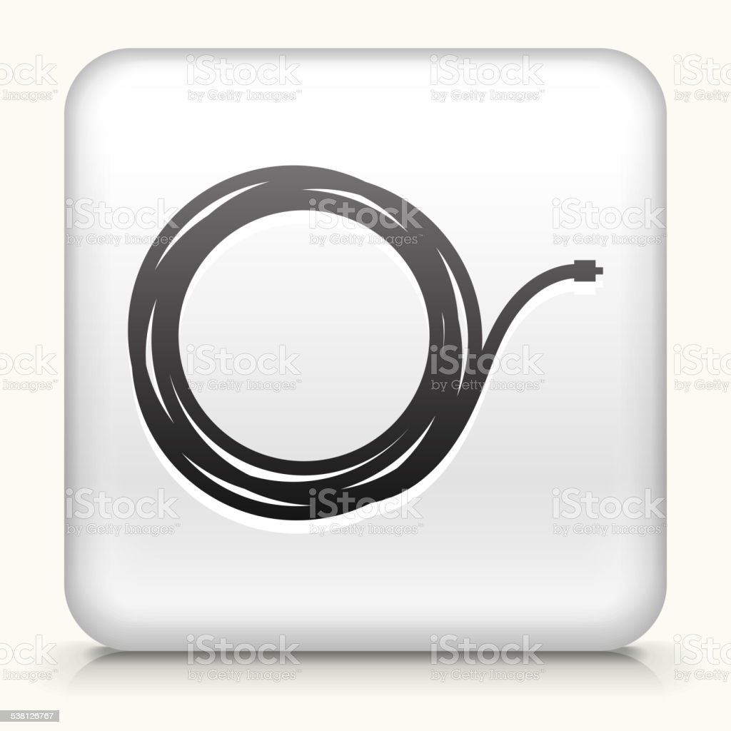 Square Button with Cable royalty free vector art vector art illustration
