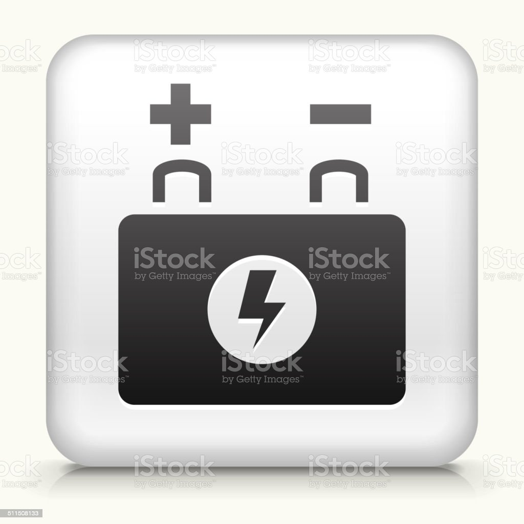 Square Button with Car Battery vector art illustration