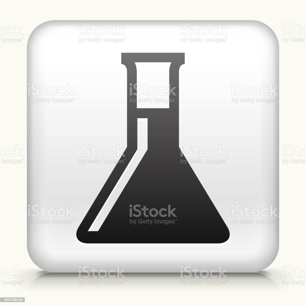 Square Button with Chemistry Flask royalty free vector art royalty-free stock vector art