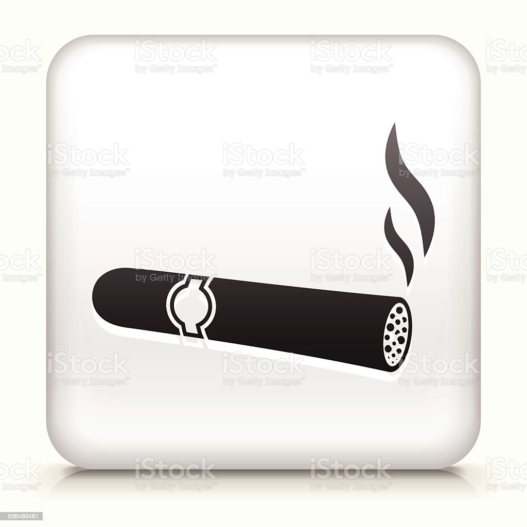 Square Button with Cigar royalty free vector art vector art illustration
