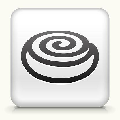 Square Button with Cinnamon Bun