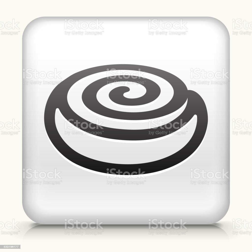 Square Button with Cinnamon Bun vector art illustration
