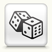 Square Button with Dice royalty free vector art
