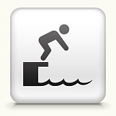 Square Button with Diving royalty free vector art