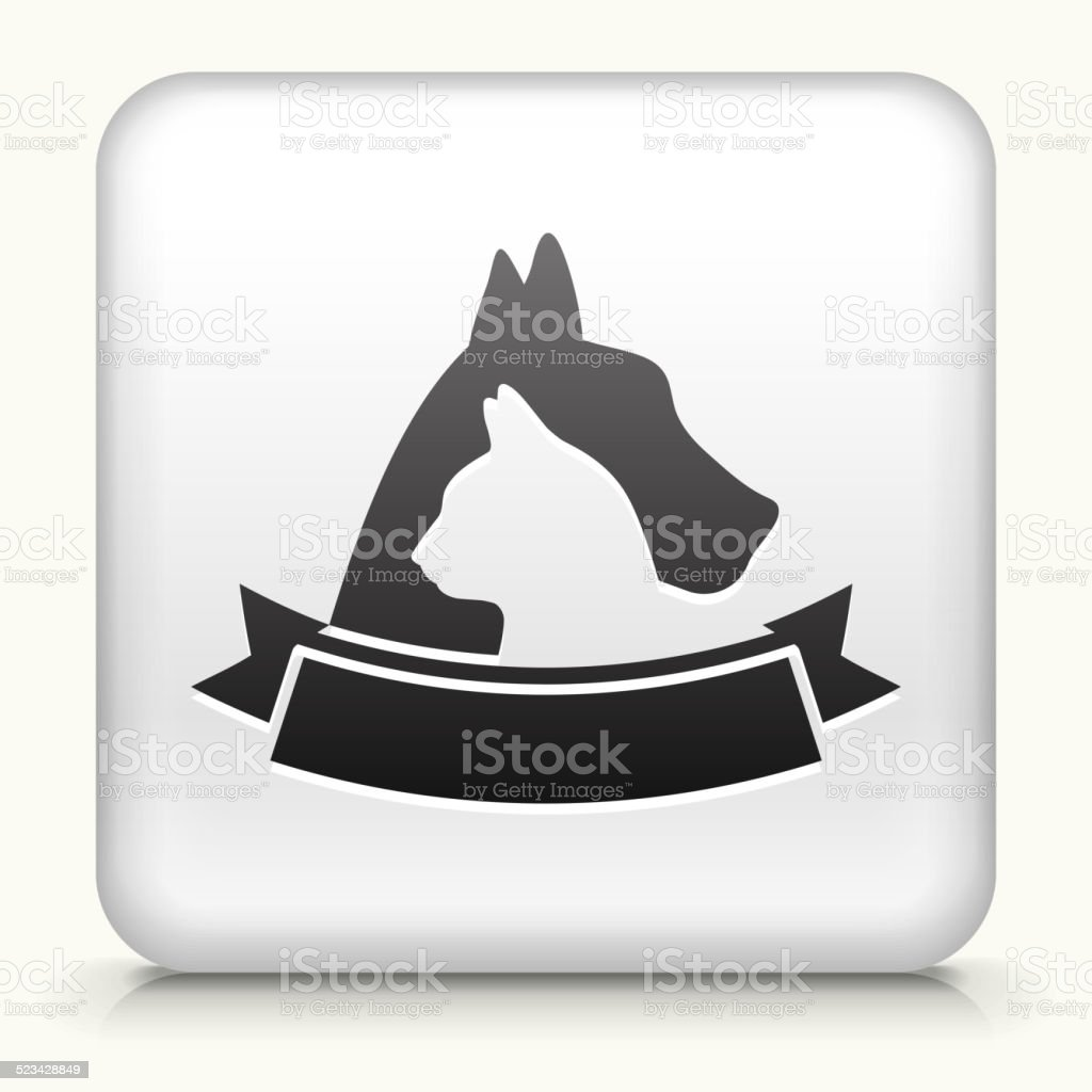 Square Button with Dog & Cat Badge vector art illustration