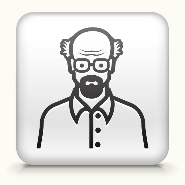 square button with elderly man face - old man face silhouettes stock illustrations, clip art, cartoons, & icons