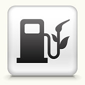 Royalty free vector art. The black interface icon is on a simple white Background. Button has a bevel effect and a light shadow. 100% royalty free vector file and can be easily modified, icon download comes with vector art and jpg file. White Square Button with Enviromental Gas Pump