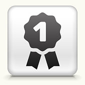 White Square Button with First Ribbon Icon