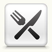 Square Button with Food Utensils royalty free vector art