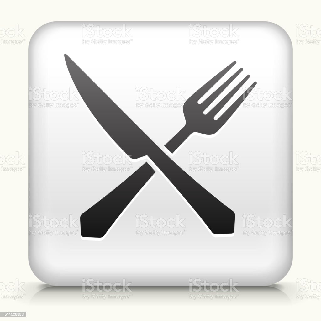 Square Button with Fork and Knife vector art illustration