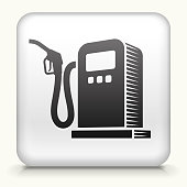Royalty free vector art. The black interface icon is on a simple white Background. Button has a bevel effect and a light shadow. 100% royalty free vector file and can be easily modified, icon download comes with vector art and jpg file. White Square Button with Gas Pump