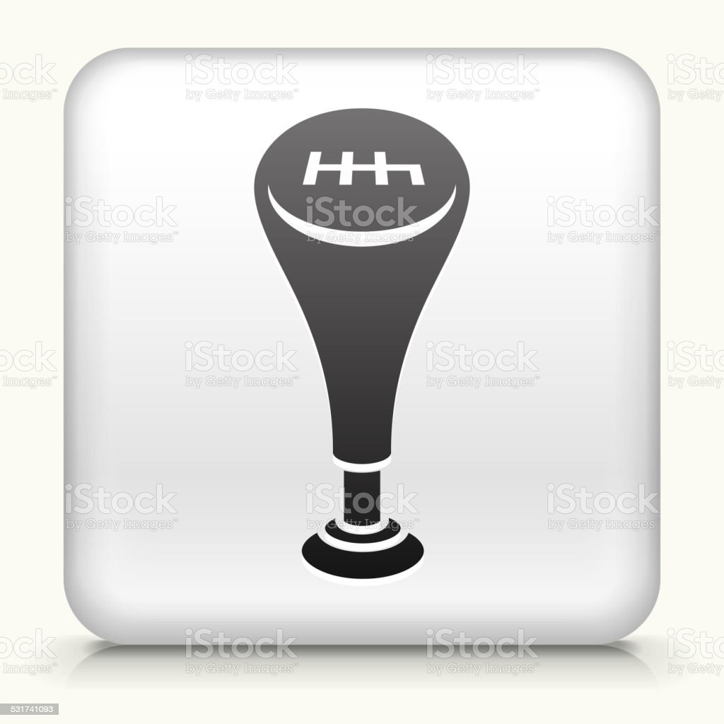 Square Button with Gear Shift vector art illustration