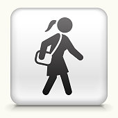 White Square Button with Going to Work Icon