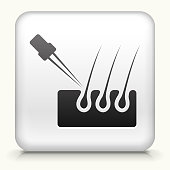 Square Button with Hair Growth interface icon
