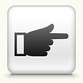 White Square Button with Hand Pointing Icon