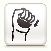 White Square Button with Hands Icon