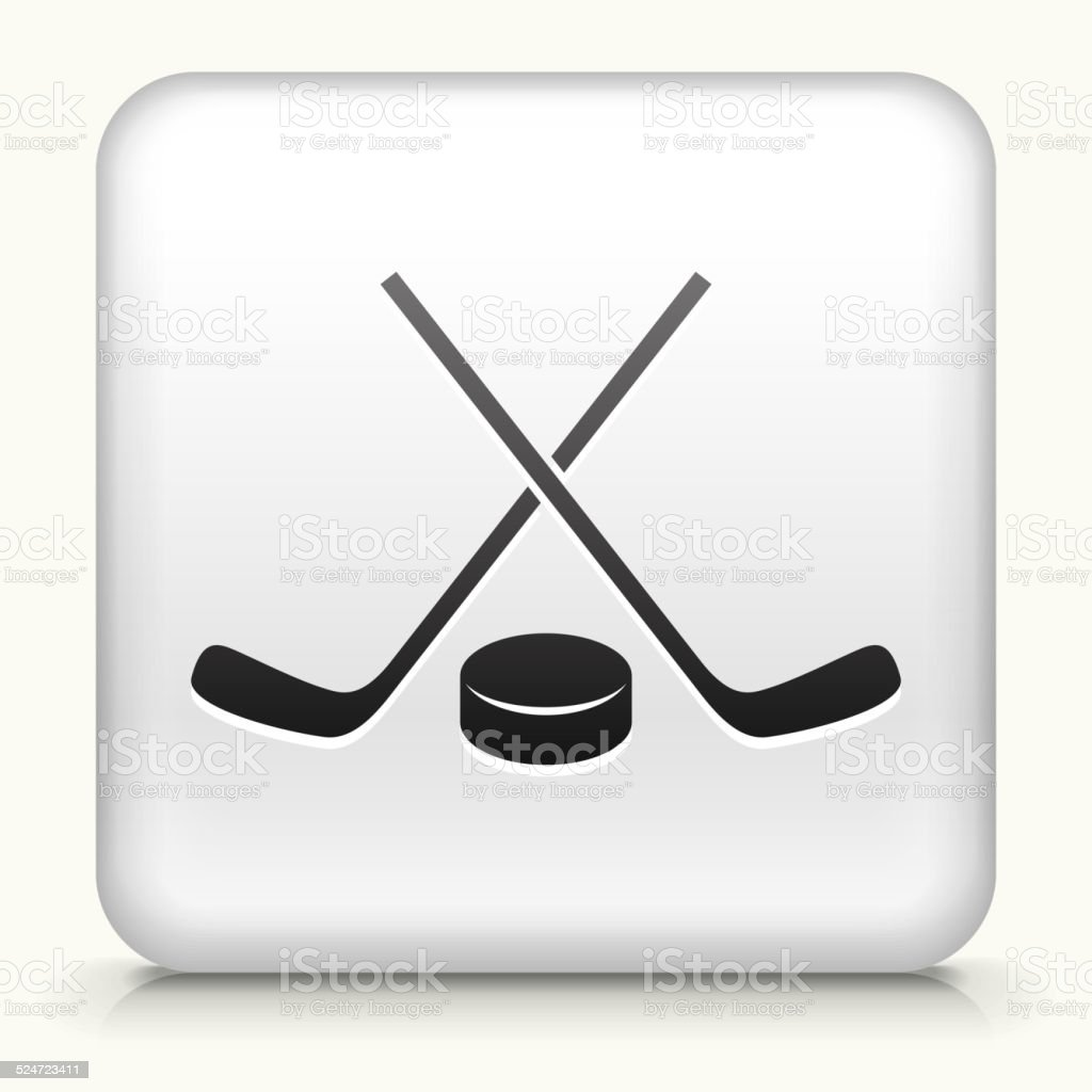 Square Button with Hockey Sticks and Puck vector art illustration