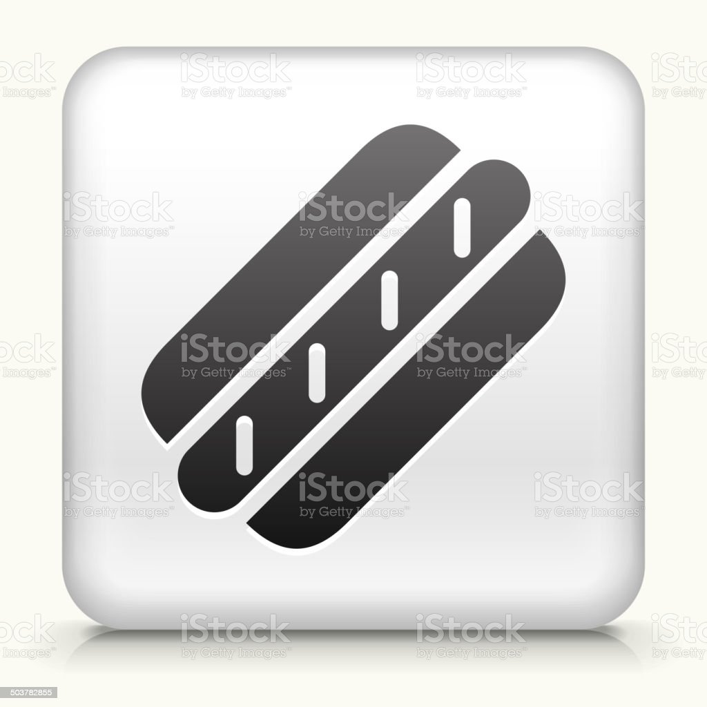 Square Button with Hot Dog royalty free vector art vector art illustration